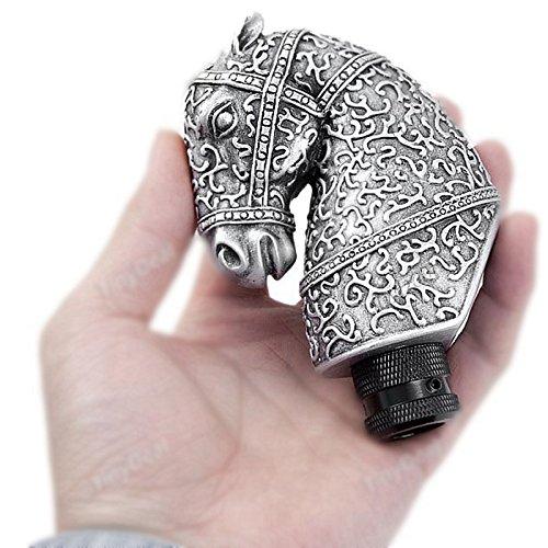 COGEEK Resin Silver Cool Antique Horse Head Shaped Car Manual Gear Shift Knob Automobile Accessory
