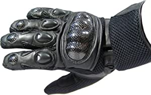CARBON KEVLAR Motorcycle Mesh & Leather Race Gloves by Jackets 4 Bikes