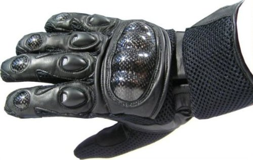 CARBON KEVLAR Motorcycle Mesh & Leather Race Gloves S