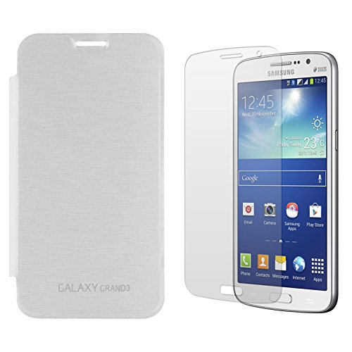 DMG Smooth PU Leather Back Replace Flip Cover Case For Samsung Galaxy Grand Max SM-G7200 (White) + Matte Screen