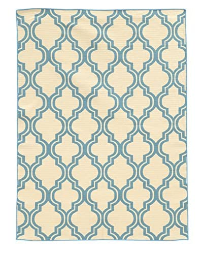 Linon Home Décor Salonika Quatrefoil Rug, Light Blue, 5' x 8'