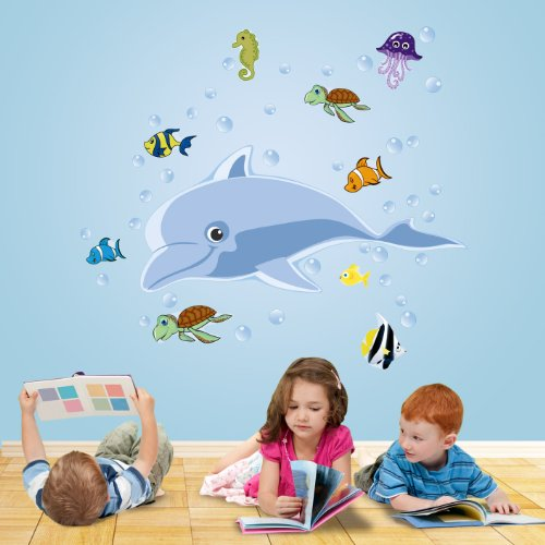 Mona Melisa Designs, Big Peel and Stick Decal, Dolphin - 1