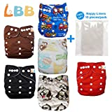 Baby Double Rows of Snaps 6pcs Pack Fitted Pocket Washable Adjustable Cloth Diaper(Netural Color)6BM98 (Color: Zebra, Tamaño: One Size)
