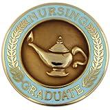 Nursing Graduate Lamp of Knowledge Circle Teal Lapel Pin