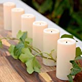 "Candle Impressions Set of 6 Ivory Faux Wick LED Smooth Resin 3"" Votives with Automatic Timers"