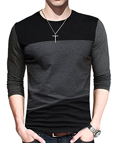 Men's Contrast Color Stitching Crew Neck Long Sleeve Basic T-shirt Top