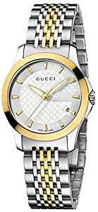 Gucci Women's YA126511 Gucci timeless Steel and Yellow PVD Silver Dial Watch
