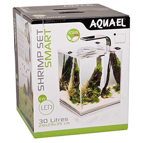 Aquael-Aquarium-Shrimp-Set-SMART-LED-komplett-Set-mit-morderner-LED-Beleuchtung-schwarz-30-Liter
