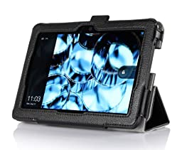 ProCase Kindle Fire HDX 7 Case with bonus stylus pen - Tri-Fold Leather Stand Cover for Kindle Fire HDX 7 inch Tablet (will only fit New Kindle Fire HDX 7 2013 released) (Black)