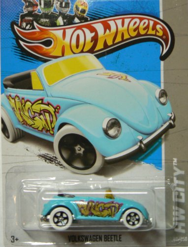 Hot Wheels 2013 Hw City Light Blue Volkswagen Beetle Graffiti Rides 40/250 - 1