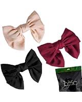 BMC Womens Satin Big Bow Hair Clip Barrette Accessory - Solid Colors Mixed Lot