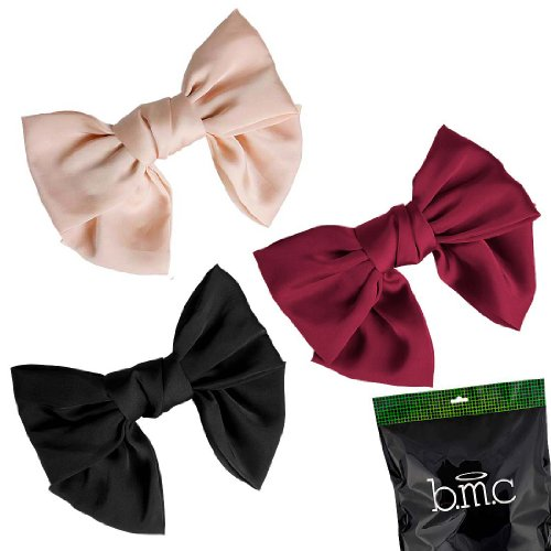 bmc-womens-satin-solid-colors-ribbon-big-bow-hair-clip-bowknot-barrette-accessory-lot-set-1