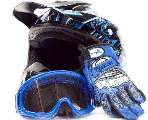 Typhoon Helmets Adult Offroad Helmet Goggles Gloves Gear Combo DOT Motocross ATV Dirt Bike MX Black Blue Splatter ( S Small )