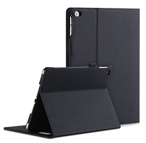 [Luxurious Protection] iPad Air 2 Case, FYY Premium Leather Case Smart Auto Wake/Sleep Cover with Velcro Hand Strap, Card Slots, Pocket for iPad Air 2 Black (Ipad Air Cover Auto compare prices)