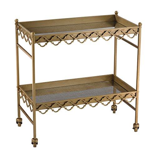 Sterling Industries Gold Rectangular Quatrefoil Bar Cart 0