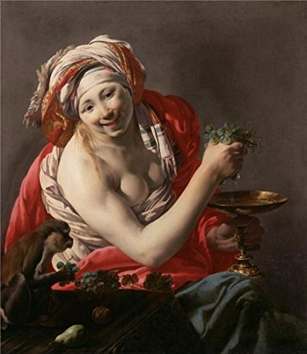 Oil Painting 'Bacchante With An Ape, 1627 By Hendrick Ter Brugghen' 10 x 12 inch / 25 x 29 cm