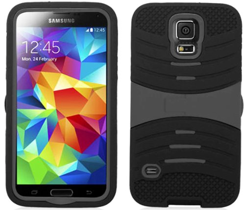 Mylife Dark Panther Black And Cool Gray - Shockproof Survivor Series (Built In Kickstand + Easy Grip Ridges) 2 Piece + 2 Layer Case For New Galaxy S5 (5G) Smartphone By Samsung (Internal Flex Silicone Bumper Gel + Internal 2 Piece Rubberized Fitted Armor