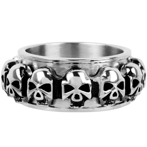 Size 9 - Inox Jewelry 316L Stainless Steel Skull Spin Ring