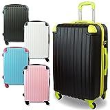 超軽量スーツケース キャリーケース Mサイズ 中型 TSAロック付き (ブラック&ブラック)