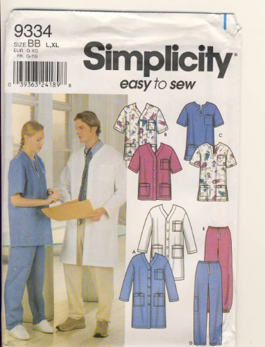 Simplicity Sewing Pattern 9334 - Easy to Sew - Use to Make - Unisex Scrubs - Jacket, Top and Pants - Sizes L (42-44), XL (46-48)