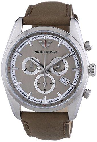 Emporio Armani  AR6040 - Reloj de cuarzo para hombre, con correa de cuero, color marrón