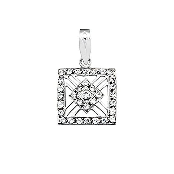 18k white gold pendant square zircons [AA4800]