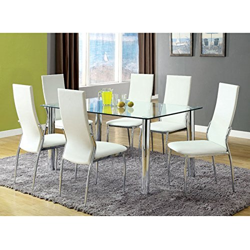 Tiff 7-Piece Contemporary Glass-Top Dining Set