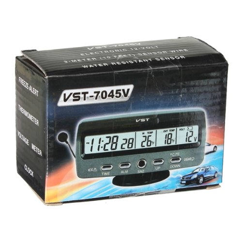 Digital Lcd Display Car Clock With Thermometer (New Style)