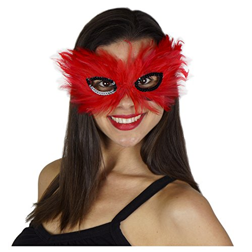 Zucker Feather Products 3D Hackle Decorative Mask, Red/Black