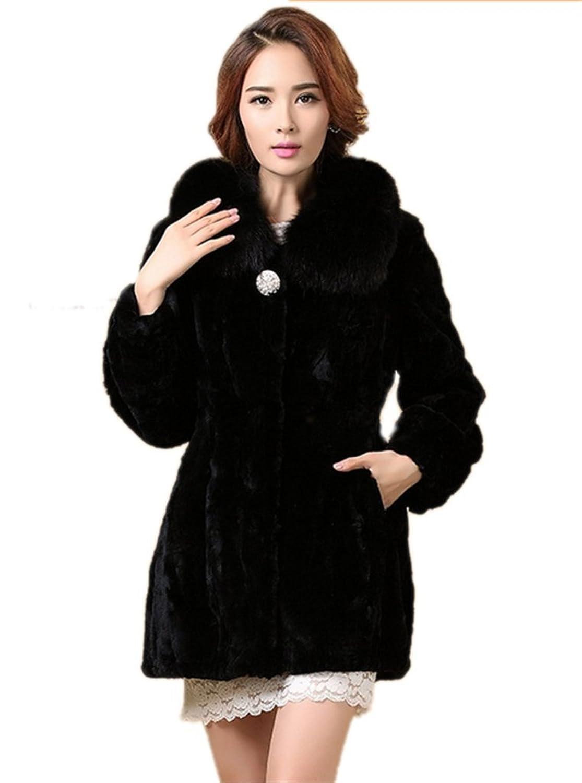 YR Lover Damen Echter Rex Kanichen Pelz Mantel & Hood kaufen