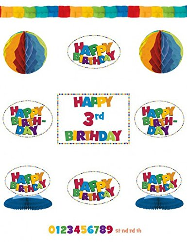 Amscan Happy Birthday Rainbow Add-An-Age Decorating Kit, Multicolored - 1
