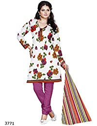 An Ethnic Affair White Printed Cotton Un-Stitched Dress Material With Dupatta (9601_White_Free Size)