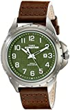 Timex Men's Expedition T49946 Brown Leather Analog Quartz Watch with Green Dial