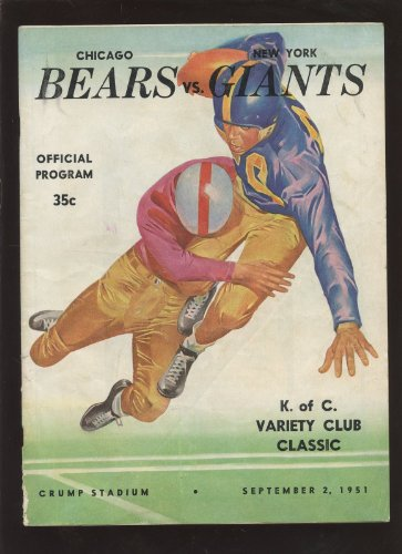 September 2 1951 NFL Program Chicago Bears vs New York Giants at Amazon.com