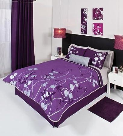 Purple Silver Gray Comforter Bedding Set