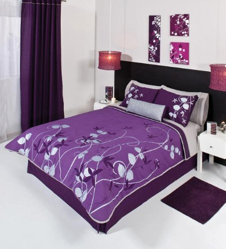 Gray themed bedroom decor grey bedding and comforter sets for Purple and silver bedroom designs