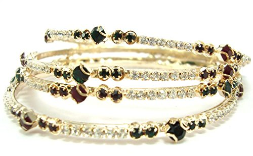 Aria Rhinestone & Cubic Zirconia Studded 4pc Bangle Set For Women -Multi-Colour (multicolor)
