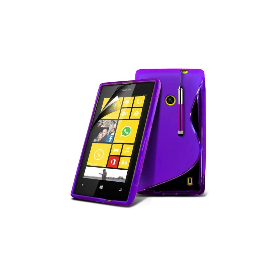 (Purple) Nokia Lumia 520 / 525 Protective S Line Hydro Wave Design Gel Case Cover Skin, Retractable Capacative Touch Screen Stylus Pen & 6 Pack LCD Screen Protector Guard By *Aventus*