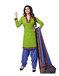 Nikki Fab Green Cotton Unstitched Dress Materials