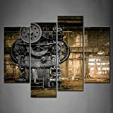 4 Panel Wall Art Metallurgical Firm Waiting For A Demolition Machine Old Factory Painting Pictures Print On Canvas Architecture The Picture For Home Modern Decoration piece (Stretched By Wooden Frame,Ready To Hang)