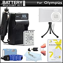 Battery And Charger Kit For Olympus Tough TG-320 TG-310 Stylus Tough 3000 Digital Camera Includes Extended (1000Mah) Replacement LI-42B Battery + AC/DC Charger + Strap Float + USB 2.0 SD Reader + Mini Tabletop Tripod + LCD Screen Protectors + More