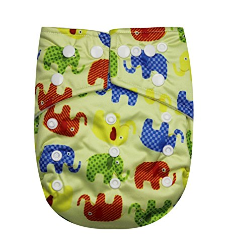 See Diapers Pocket Baby Cloth Diaper 2 Microfiber Inserts Adjustable (Elephant)