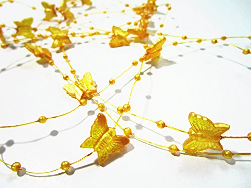 10 Yard Butterfly Bead Garland 12 Mm Pearls: Yellow - 1