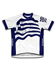 Greece Flag Short Sleeve Cycling Jersey for Women