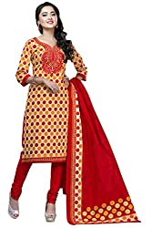 Shaily Retails Women's Yellow Cotton Printed Unstitched Dress Material