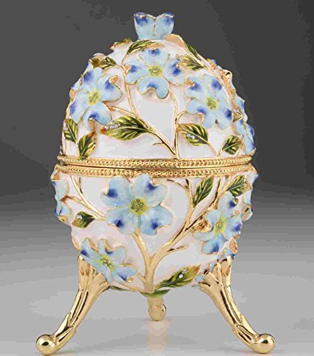 White Faberge Egg Handmade Trinket Box Decorated with Swarovski Crystals