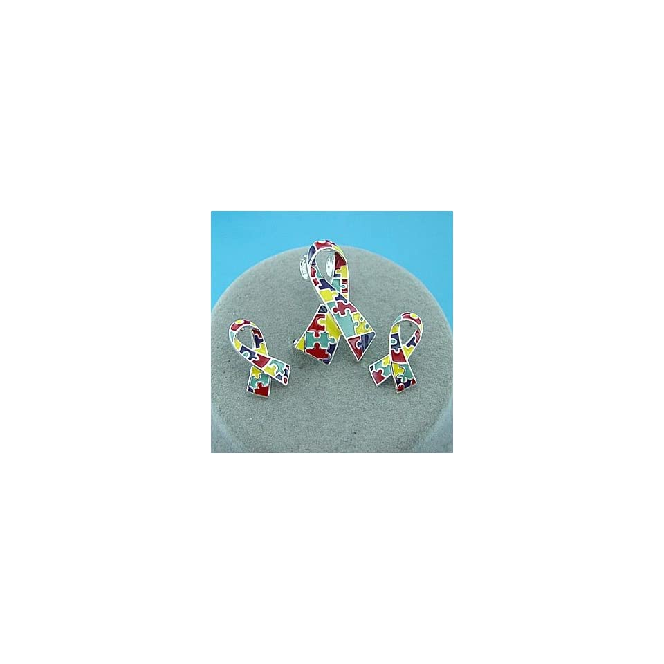Autism Awareness ~ Puzzle Ribbon ~ Pendant/Earrings Set ~ (LAST ONE)