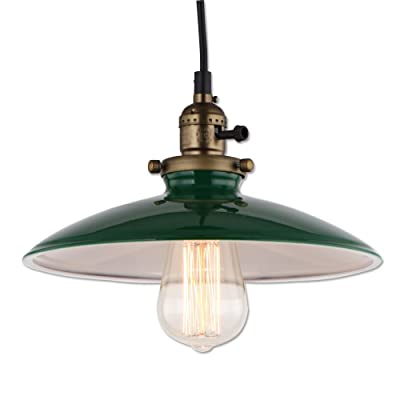 JEMMY HO Vintage Industrial Pendant Lighting Metal House Hanging Lights Diameter 10-inches Mini Barn Pendant Lamp (Green)