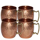 Handmade Pure Copper Hammered Moscow Mule Mug,Set of 4 Mugs