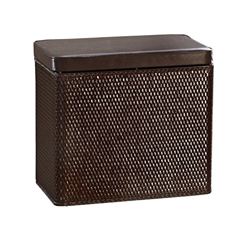 Lamont Home Carter Bench Wicker Laundry Hamper With Coordinating Padded Vinyl Lid, Chocolate front-813817